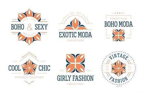 Flat design fashion accessories logo collection vector
