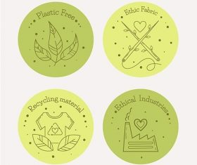 Flat design slow fashion badge set vector