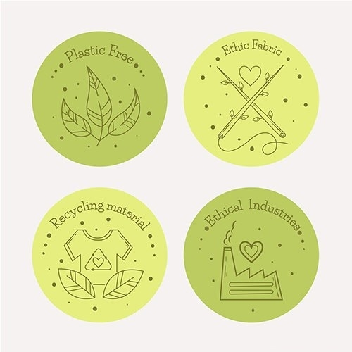 Flat design slow fashion badge set vector