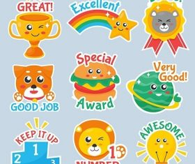 Flat good job and great job stickers vector