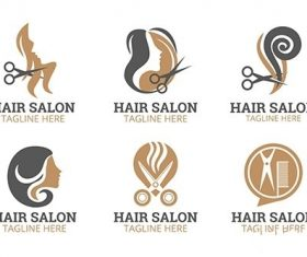 Flat hand drawn hair salon logo collection vector