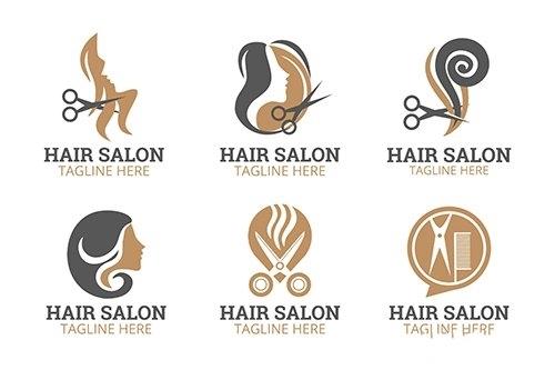 Flat hand drawn hair salon logo collection vector