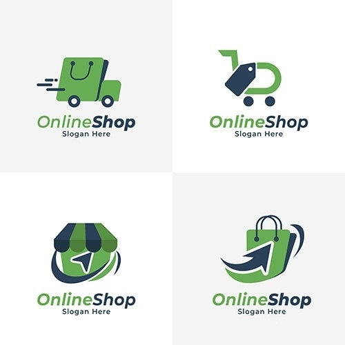 Flate commerce logo collection vector
