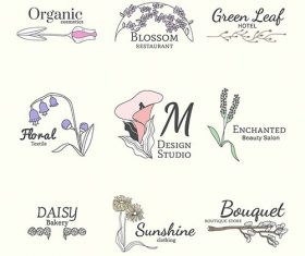 Floral feminine logo design set vector