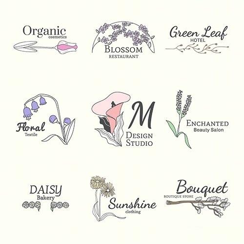 Floral feminine logo design set vector
