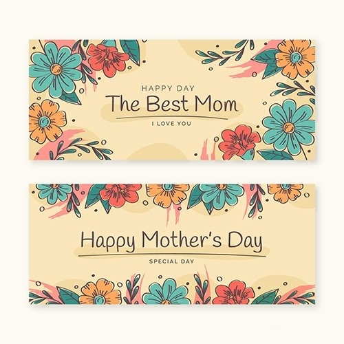 Floral mothers day banners set vector