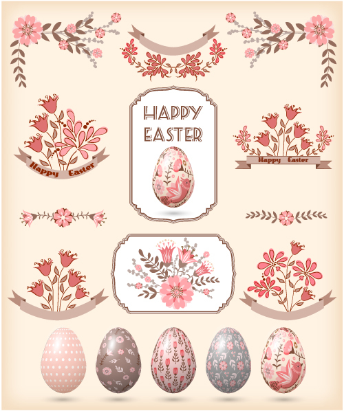 Flower and egg easter element card vector