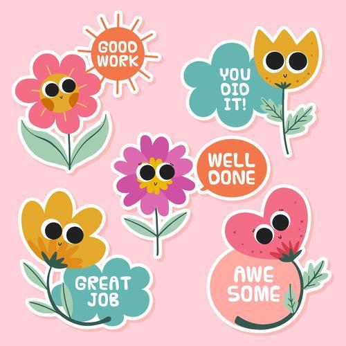 Flower cartoon label vector