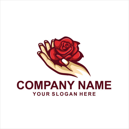 Flower hand logo vector