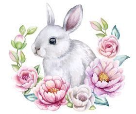Flowers and bunny easter card vector