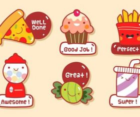 Food stickers cartoon collection vector