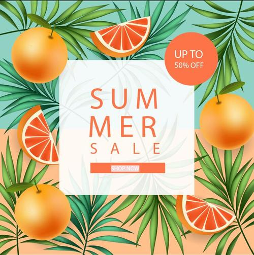 Fresh fruit sale flyer vector