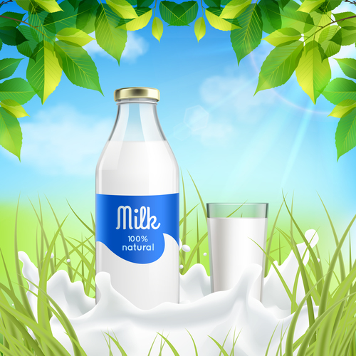 Fresh milk advertising vector