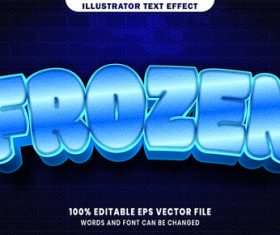 Frozen 3d editable text style effect vector