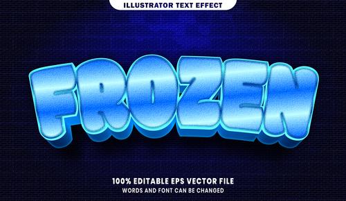 Frozen 3d editable text style effect vector