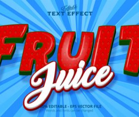 Fruit 3d effect text design vector