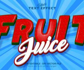 Fruit 3d effect text design vector