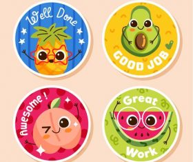 Fruit stickers cartoon collection vector
