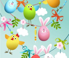 Funny easter egg background vector