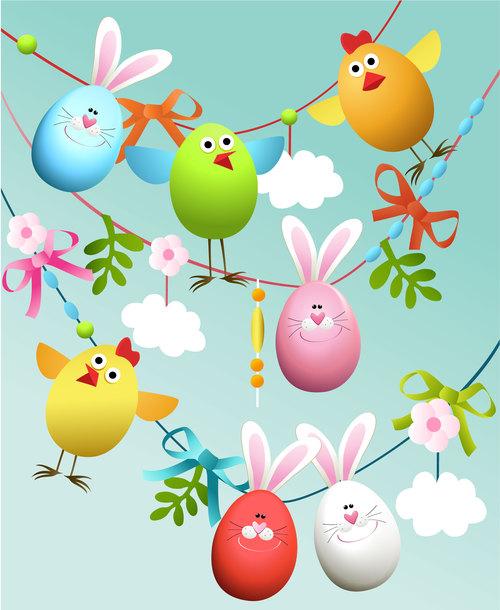 Funny easter egg background vector
