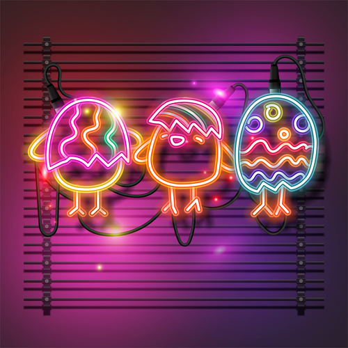 Funny neon egg easter vector