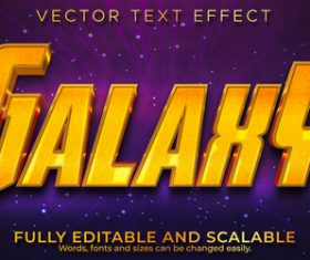 Galahy 3d effect text design vector