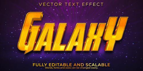 Galahy 3d effect text design vector