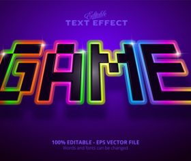 Game 3d effect text design vector