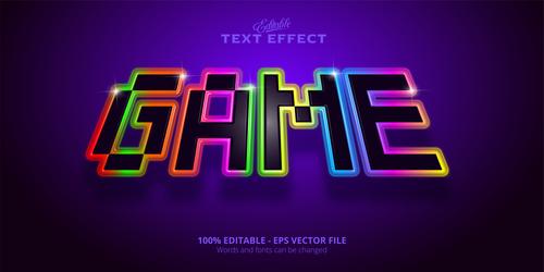 Game 3d effect text design vector