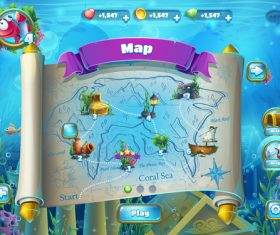 Game map interface design vector