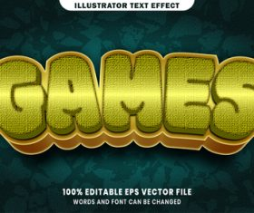 Games 3d editable text style effect vector
