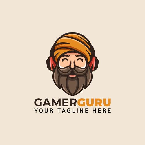 Gaming guru mascot icon design vector