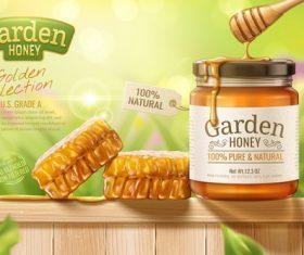 Garden honey promotional flyer vector