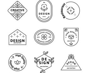 Geometric shaped badge collection vector