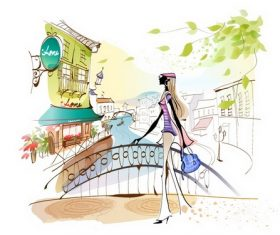 Girl Illustration Vector Standing on the Bridge