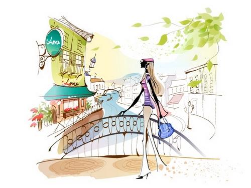 Girl Illustration Vector Standing on the Bridge