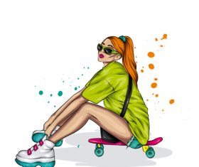 Girl sitting on skateboard vector