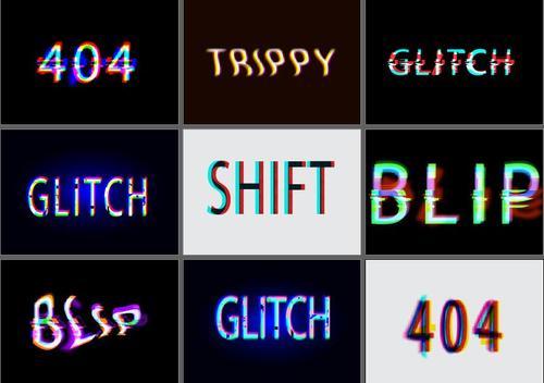 Glitch graphic styles design vector