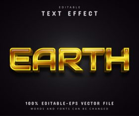 Gold earth text effect vector
