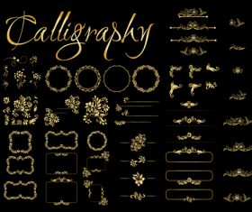 Golden Calligraphic Elements vector