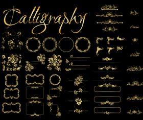 Golden Calligraphic Elements vector