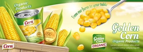 Golden corn promotional flyer vector