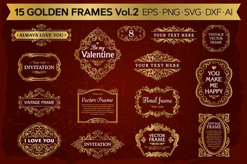 Golden frames backgrounds set vector