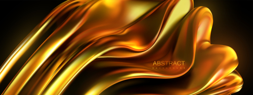 Golden liquid abstract background vector