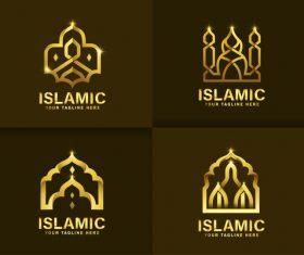 Golden mosque islamic vector
