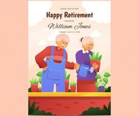 Gradient retirement greeting card vector