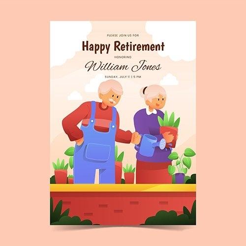 Gradient retirement greeting card vector