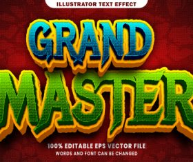 Grand master 3d editable text style effect vector