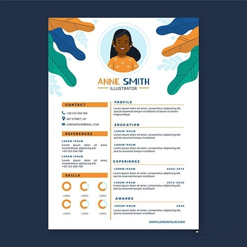 Graphic designer cv template illustrated vector