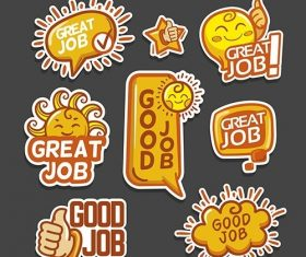 Great job stickers vector
